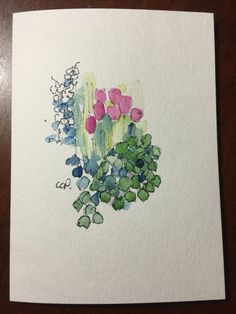 Garden Blooms Watercolor Card / Hand Painted by gardenblooms