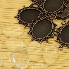PEPPERLONELY Brand 10 Sets Red Copper Cabochon Frame Setting Tray Pendant with Clear Oval Glass Dome Tile Cabochon 18x25mm, http://www.amazon.com/dp/B00OMVTVVC/ref=cm_sw_r_pi_awdm_Atolvb0169VHW