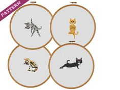 Cat in Yoga Poses, Cross Stitch Patterns Set, Plank, Tree, Camel, Extended Triangle, Instant PDF Downloads
