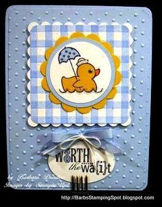 gingham baby duck card