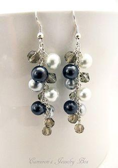 Silver Beaded Pearl Earrings, White, Black & Silver Pearls, Beaded Cluster Swarovski Pearl Earrings, Bridesmaid Jewelry
