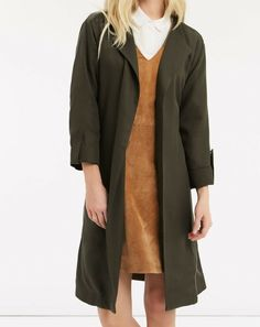 56d49d7587a8 Oasis Khaki Waterfall Dust Jacket Trench Belted Mac Draped Linen Coat 8 10  12 #Oasis