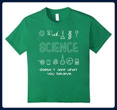 Kids Science Doesn't Care What You Believe T Shirt Funny Science 4 Kelly Green - Math science and geek shirts (*Amazon Partner-Link)