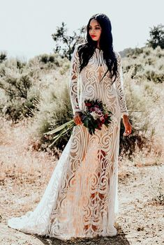 bcb8b461f043 Bohemian Boho Sheer Embroidered Lace Sequins Long Sleeve Mermaid Hourglass  WEDDING Maxi Dress Gown W/ Train Saldana Vintage Elopement