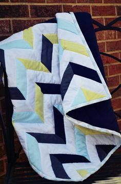 Baby Boy Chevron Quilt MADE TO ORDER Allow 12 by MadeToOrderQuilts