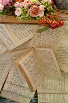 There is artistry in words, as there is beauty in flowers. I Love Books, Books To Read, Reading Books, Reading Time, Book Flowers, Book Letters, World Of Books, Old Books, Book Nooks