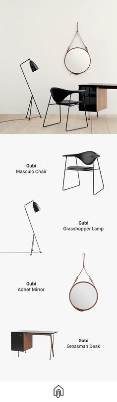 This Gubi feature includes the Masculo chair, the wonderful Grasshopper lamp, Adnet mirror and the Grossman desk. All available on Clippings.com