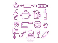 Dribbble - Food and kitchen supplies icons by Peecheey