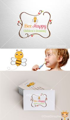 Bee Happy www.One-Giraphe.com #baby #children #child #kids #bee #dentist #dentistry #logo #logodesign #cute #graphic #design #designer #portfolio #behance #logopond #brandstack #sweet #logodesign #designer #brand #brandidentity #brandstack #logo #logodesign #graphicdesign #logopond #behance