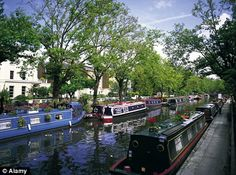 Houseboats on Regents Canal at Little Venice in London -- been to London and blocks from here a few times, but never knew Little Venice existed. First stop, next time.
