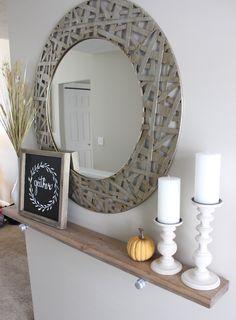 Stylish and practical: DIY Industrial Shelf Entrance Decor, Entryway Decor, Wall Decor, Home Living Room, Living Room Decor, Hallway Shelf, Home Decoracion, Regal Design, Industrial Shelving