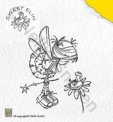 SWE004 (Frog on Flower) - Stamp Sweet Elin - Nellie Snellen