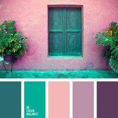 Dark blue/green, light pink, pastel purple, dark purple color palette