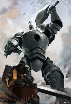 """haohi:  """" Black Iron Tarkus vs Iron Golem  -Dark Souls  """""""