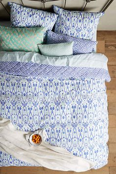 John Robshaw Agadin Duvet Blue Motif from Anthropologie. Saved to Home. Shop more products from Anthropologie on Wanelo. Dream Bedroom, Home Bedroom, Bedroom Decor, Bedrooms, Colorful Bedding, Master Suite, Design Your Home, Deco Design, My New Room