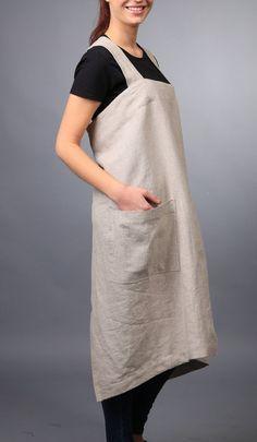 Linen pinafore / Square cross linen apron / Japanese apron / Washed long apron