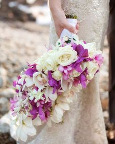 Beautiful white and purple cascading bridal bouquet by Petals of Bliss Wedding Design & Spectacular Events- photo by Anna Kim Photography - http://blissmaui.com/wedding-floral-design/