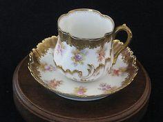 Antique Dresden Eggshell Porcelain Demitasse Teacup Saucer   eBay