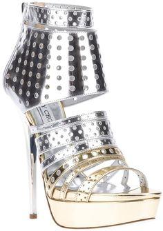 JIMMY CHOO  Gold Metallic Platform Sandal