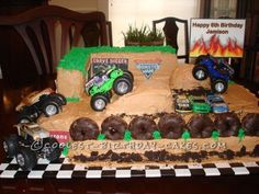 This Monster Truck Rally birthday Cake is a white almond sour cream cake recipe doubled. I used an 11 x 13 pan for the base and 2 loaf pans for the walls. Monster Jam Cake, Monster Truck Cupcakes, Monster Truck Rally, Monster Truck Birthday Cake, Happy 6th Birthday, Cool Birthday Cakes, Birthday Ideas, Just In Case, Cream Cake