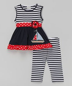 Love this Navy Stripe Sailboat Tunic & Pants - Infant, Toddler & Girls on #zulily! #zulilyfinds