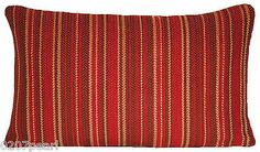 Cushion Pillow Cover Woven Stripe Red Wine Brown Beige Pierre Frey Fabric Sofa | eBay