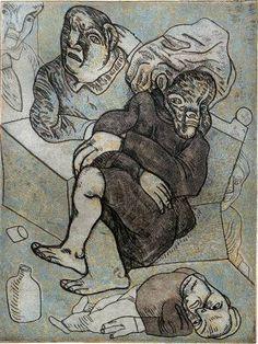 José Luís Cuevas El Borracho (The Drunk) 40 x 30 cm *Grabado - Aguatinta, Barniz Suave.   *Etching - Aquatint, Soft Ground.