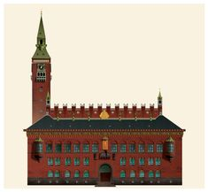 The Radhus (town hall) | Danish illustrator Martin Schwartz created a series of postcard illustrations of iconic Copenhagen buildings.