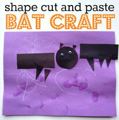 Easy bat craft and lesson about shapes all in one.