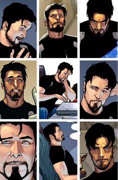 Tony Stark's expressions by Sara Pichelli :)
