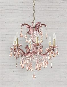 PARISIAN PETAL PINK CHANDELIER - Rose-coloured glass casts a loveliness on life. This six-armed crystal chandelier in pastel pink will bathe a room with sweetness.