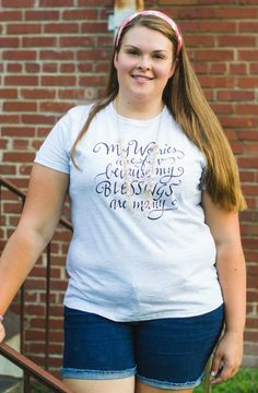 """Image of Hand Lettered Ash """"Blessings"""" Tee by Gravel Road Tees. Hand lettered :My worries are few because my blessings are many"""" quote. Great deal (cheap) t-shirt from teen - plus size fashion #calligraphy"""