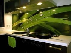 Modern Kitchen Interior Design With Fresh Green Leaves Picture. Modern kitchen interior design in kitchen design with images of fre. Green Kitchen Designs, Green Kitchen Walls, Green Interior Design, Interior Design Kitchen, Interior Decorating, Decorating Ideas, Green Wall Color, Kitchen Wall Decals, Kitchen Wallpaper