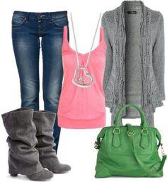 Greys/pinks w/ jeans