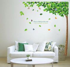 Wandtattoo Baum mit günen Blättern und Schmetterlingen: Amazon.de: Küche & Haushalt