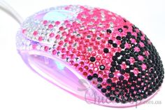 Pretty Cute Pink/Black Crystal USB Optical Computer Mouse for any Notebook, Laptop or Desktop PC. Decorated in Rhinestone.