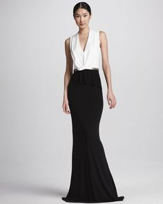 David Meister Two-Tone Drape-Neck Gown - Neiman Marcus