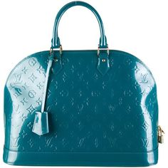 Pre-owned Louis Vuitton Vernis Alma GM ($1,595) ❤ liked on Polyvore featuring bags, handbags, tote bags, blue, louis vuitton, totes, louis vuitton tote, pre owned handbags, zip top tote and blue patent leather purse