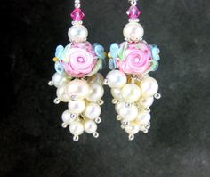 Pink Rose Lampwork Earrings Pearl Cluster by GlassRiverJewelry, $49.00