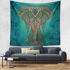 ELEPHANT MANDALA TAPESTRY WALL ART 83X58 In