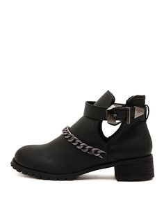 Super Cute Boots! Chain-detailed Block-heel Ankle #vegan #leather #Boots  $47 (reg $95!) #BlackFive #fashion #style #shopping #clothing #apparel #accessories #mystylespot