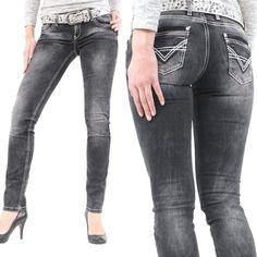 Cipo & Baxx Damen Jeans C-46007 Slim Fit Mit Stretch Und Dicken Weißen Nähten Schwarz (W25/L32)