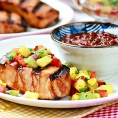 Firecracker Pork Chops with Pineapple Kiwi Salsa for Memorial Day!