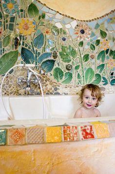 Murales flower tile mosaic bath