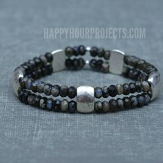 A beginner jewelry tutorial for making a double strand opal DIY stretch bracelet at Happy Hour Projects.