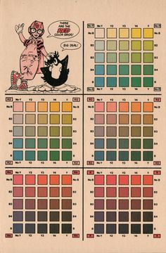 old comic book ink color chart - Google Search Old Comics, Vintage Comics, Old Comic Books, Black And White Artwork, Ink Color, Hand Coloring, Line Drawing, Hand Lettering, Red And Blue
