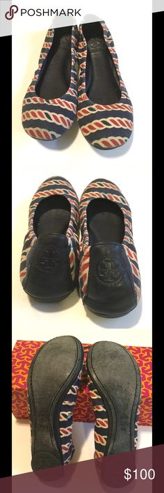 Tory Burch Canvas Eddie Flats, Size 7 Navy, red, and white Tory Burch ballet flats.  Navy leather on back of shoe, canvas upper.  Super cute with jeans!  Some slight fading around edges, priced accordingly, otherwise great condition.  Box included Tory Burch Shoes Flats & Loafers