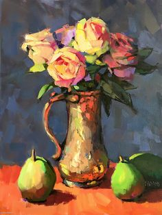 Roses in Copper Tankard by Trisha Adams, Oil, 24 x 18 Oil Painting Trees, Oil Painting Background, Oil Painting Abstract, Oil Paintings, Indian Paintings, Painting Art, Watercolor Painting, Landscape Paintings, Knife Painting