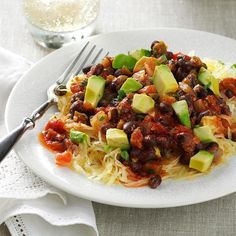 Salsa Spaghetti Squash Recipe -If you want spaghetti, but are eating gluten-free or trying to keep a lid on carbs, there's always spaghetti squash as a flavorful alternative. Subtly sweet, tender and satisfying, this is one colorful dish. —Clara Coulson Minney, Washington Court House, Ohio
