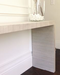 WHITE GOLD: IKEA HACK - MALM TABLE TO GRASSCLOTH CONSOLE